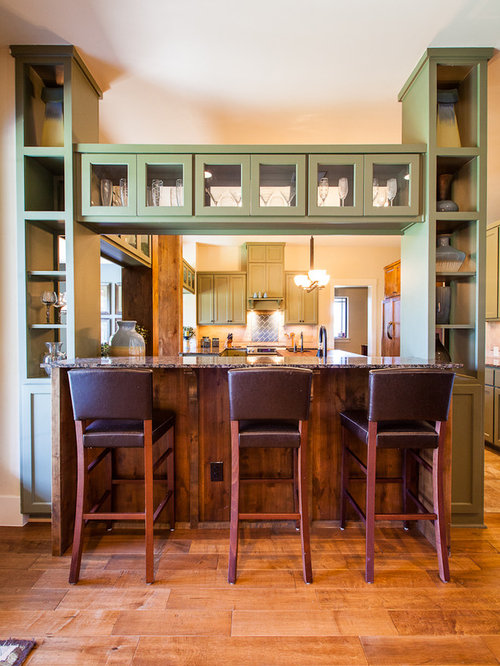 Trendy Kitchen Photo In Austin With Granite Countertops And Green Cabinets