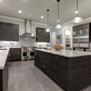 ジャクソンビルの大きいモダンスタイルのおしゃれなキッチン (アンダーカウンターシンク、シルバーの調理設備の、フラットパネル扉のキャビネット、濃色木目調キャビネット、珪岩カウンター、グレーのキッチンパネル、サブウェイタイルのキッチンパネル、磁器タイルの床、グレーの床、マルチカラーのキッチンカウンター) の写真