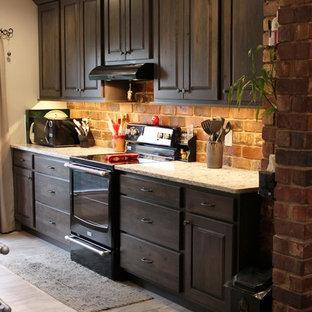 シカゴの中くらいのラスティックスタイルのおしゃれなキッチン (アンダーカウンターシンク、レイズドパネル扉のキャビネット、グレーのキャビネット、クオーツストーンカウンター、マルチカラーのキッチンパネル、レンガのキッチンパネル、黒い調理設備、クッションフロア、アイランドなし) の写真