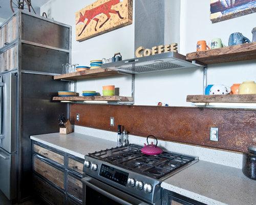 cuisine industrielle avec un plan de travail en verre recycl photos et id es d co de cuisines. Black Bedroom Furniture Sets. Home Design Ideas