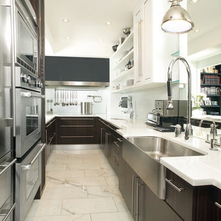 Lighting for galley kitchen Trendy Kitchen Kitchen Contemporary Galley Kitchen Idea In Toronto With Farmhouse Sink And Stainless Steel Appliances Houzz Galley Kitchen Lighting Houzz