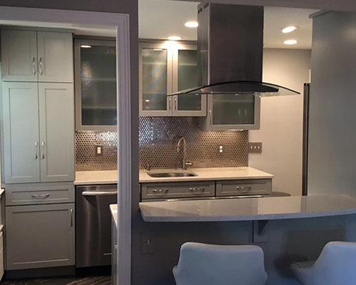 kleine k chen mit arbeitsplatte aus terrazzo ideen design bilder houzz. Black Bedroom Furniture Sets. Home Design Ideas