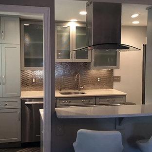 Modelo de cocina de galera, actual, pequeña, con fregadero bajoencimera, armarios estilo shaker, puertas de armario grises, encimera de terrazo, salpicadero metalizado, salpicadero de azulejos de porcelana, electrodomésticos de acero inoxidable y península