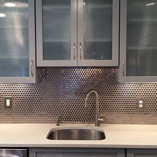 Inspiration for a small contemporary galley kitchen in Other with an undermount sink, shaker cabinets, grey cabinets, terrazzo benchtops, metallic splashback, porcelain splashback, stainless steel appliances and a peninsula.
