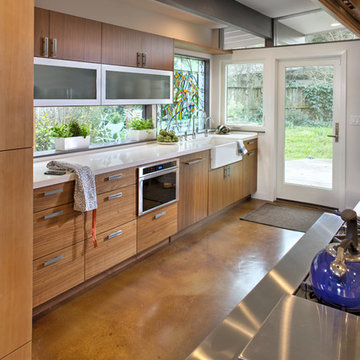 Galley Kitchen with Exposed Beam
