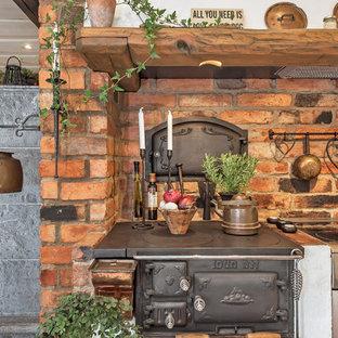 Inspiration för ett mellanstort rustikt linjärt kök