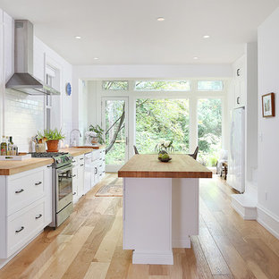 Example of a large transitional single-wall medium tone wood floor and brown floor eat