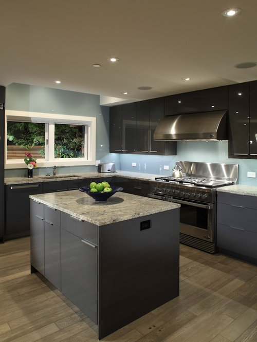 Example Of A Trendy Kitchen Design In Vancouver With Granite Countertops Flat Panel Cabinets