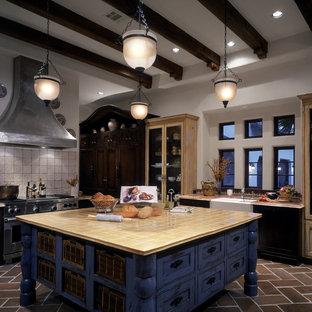ヒューストンの巨大なエクレクティックスタイルのおしゃれなキッチン (エプロンフロントシンク、インセット扉のキャビネット、ヴィンテージ仕上げキャビネット、タイルカウンター、シルバーの調理設備の、テラコッタタイルの床) の写真