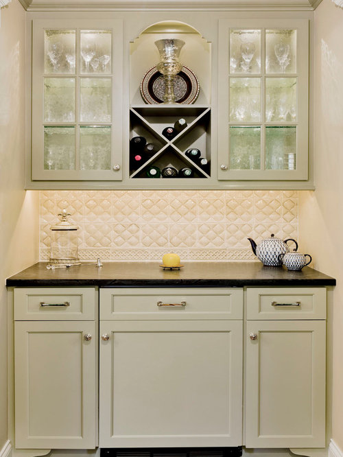 ... kitchen idea with shaker cabinets, green cabinets and white backsplash