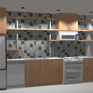 リッチモンドのインダストリアルスタイルのおしゃれなL型キッチン (白い調理設備、シングルシンク、シェーカースタイル扉のキャビネット、淡色木目調キャビネット、コンクリートカウンター、メタリックのキッチンパネル、メタルタイルのキッチンパネル、コンクリートの床) の写真