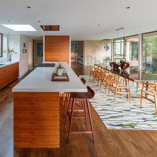 サンフランシスコの巨大なミッドセンチュリースタイルのおしゃれなキッチン (ドロップインシンク、フラットパネル扉のキャビネット、中間色木目調キャビネット、クオーツストーンカウンター、白いキッチンパネル、石スラブのキッチンパネル、パネルと同色の調理設備、無垢フローリング、ターコイズの床) の写真