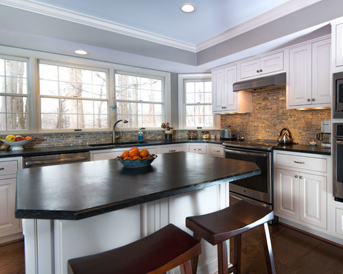 ideas para cocinas modernas con salpicadero de azulejos de terracota