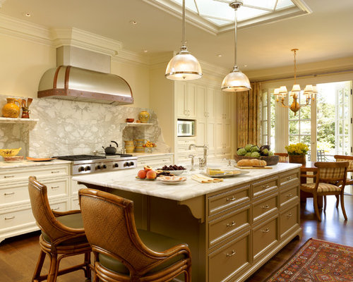Elegant Eat In Kitchen Photo San Francisco With Recessed Panel Cabinets Beige