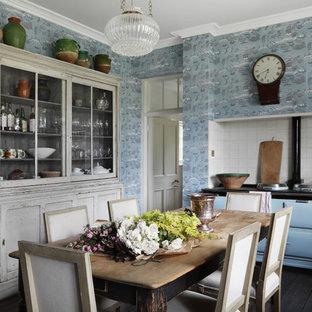 Mid-sized transitional eat-in kitchen in Dorset with white splashback, coloured appliances, dark hardwood floors, recessed-panel cabinets, beige cabinets, ceramic splashback and no island.