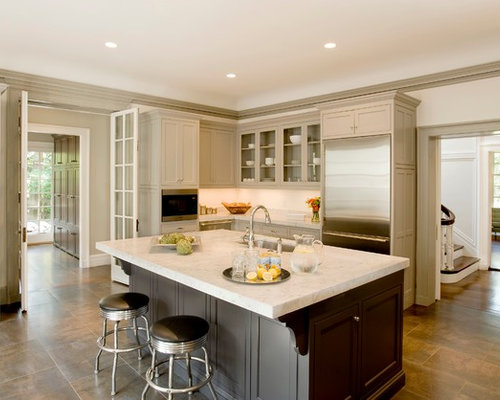 Traditional Kitchen Idea In Boston With A Single Bowl Sink, Glass Front  Cabinets