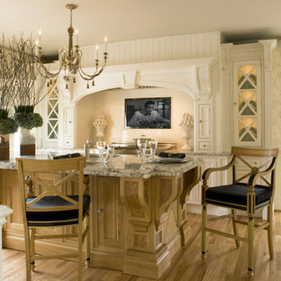 Design ideas for a victorian enclosed kitchen in DC Metro with white cabinets, white splashback, metro tiled splashback, beaded cabinets, granite worktops and an island.