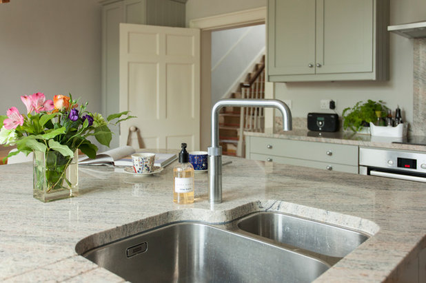 Soft Hues Create a Calm Mood in a Historic Kitchen