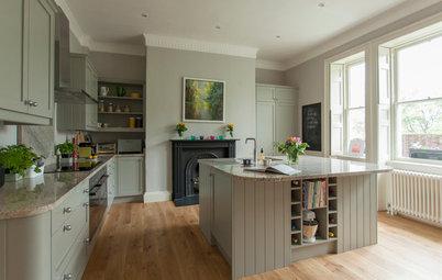 Soft Hues Create a Calm Mood in a Historic Kitchen