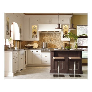 Design ideas for a small transitional l-shaped eat-in kitchen in Toronto with a farmhouse sink, shaker cabinets, white cabinets, zinc benchtops, multi-coloured splashback, mosaic tile splashback, stainless steel appliances, ceramic floors and with island.