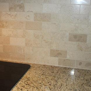 Polished Crema Marfil Backsplash Inspiration For A Mid Sized Timeless U Shaped Eat In Kitchen Remodel