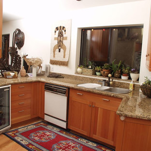 Example Of A Trendy U Shaped Eat In Kitchen Design In Seattle With A. Save  Photo. Giallo Veneziano Granite Kitchen