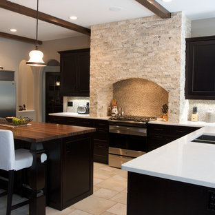 75 Beautiful Travertine Floor Kitchen With Black Cabinets Pictures Ideas February 2021 Houzz
