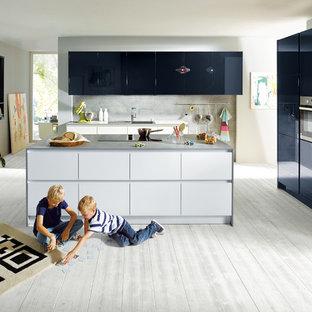Glasline Crystal White with Fino Indigo Blue Schüller Kitchen