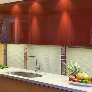 Glass Cabinet Doors & Backsplash Kapalua Ironwood Maui Kitchen Remodel