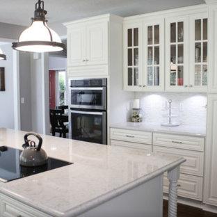 他の地域の広いおしゃれなキッチン (レイズドパネル扉のキャビネット、白いキャビネット、珪岩カウンター、シルバーの調理設備、ピンクのキッチンカウンター) の写真