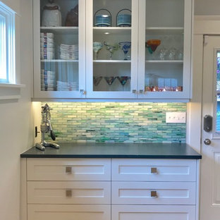 Glass front upper cabinets