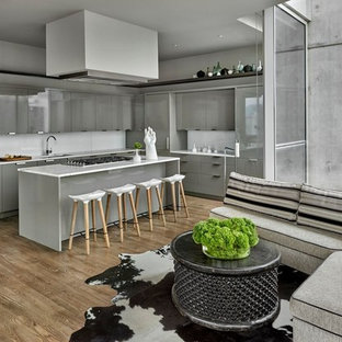 Design ideas for a large contemporary l-shaped open plan kitchen in Chicago with an undermount sink, flat-panel cabinets, grey cabinets, white splashback, light hardwood floors, with island and panelled appliances.