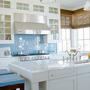 Blue Gl Backsplash Houzz
