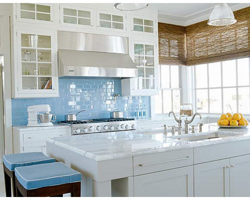 Minimalist Single Wall Eat In Kitchen Photo Other With White Cabinets Blue Save Subway Tile Outlet
