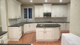 glazed dove white with tile backsplash