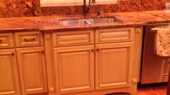 Glazed kitchen and custom built breakfast seating