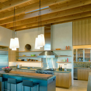 Modern kitchen pantry in San Francisco with flat-panel cabinets, medium wood cabinets, concrete benchtops, stainless steel appliances, concrete floors and with island.