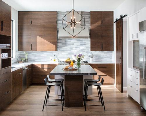 Contemporary Kitchen Designs   Contemporary U Shaped Dark Wood Floor Kitchen  Idea In San Diego