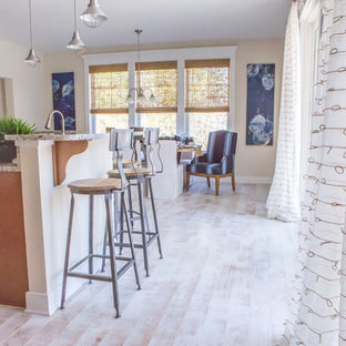 Mid-sized beach style eat-in kitchen pictures - Inspiration for a mid-sized beach style galley painted wood floor eat-in kitchen remodel in Other with a double-bowl sink, recessed-panel cabinets, medium tone wood cabinets, granite countertops, stainless steel appliances and an island
