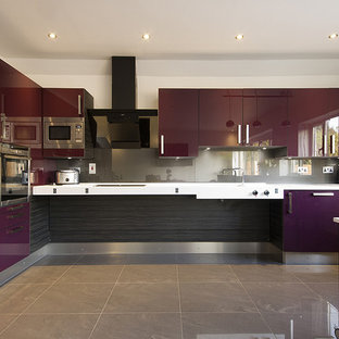 Gloss Acrylic Plum Accessible Kitchen - Full View