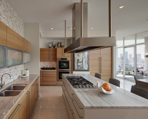 Inspiration For A Contemporary Galley Kitchen Remodel In Chicago With A  Double Bowl Sink