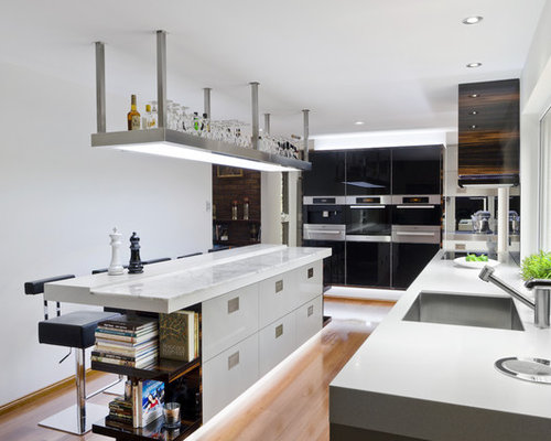Kitchen contemporary kitchen idea in brisbane with stainless steel appliances