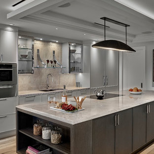 Contemporary kitchen ideas - Ex&le of a trendy galley light wood floor and beige floor kitchen & Grey And Beige Tones Kitchen Ideas \u0026 Photos | Houzz