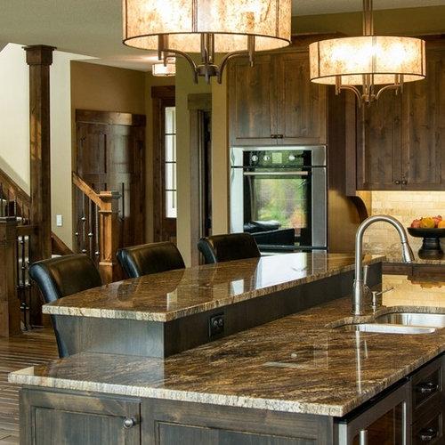 Dark Beige Kitchen Cabinets: Golden Thunder Granite