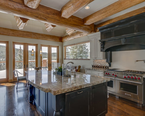 Mid Sized Rustic Eat In Kitchen Pictures   Mid Sized Mountain Style L