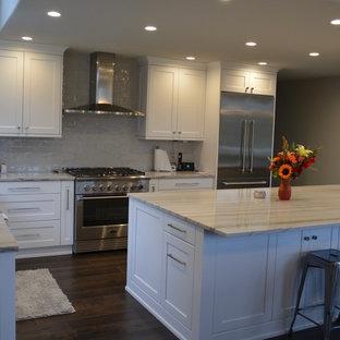 Idéer för att renovera ett stort vintage grå grått l-kök, med en undermonterad diskho, skåp i shakerstil, vita skåp, granitbänkskiva, grått stänkskydd, stänkskydd i keramik, rostfria vitvaror, mörkt trägolv och brunt golv