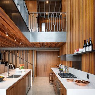 Ejemplo de cocina de galera, retro, grande, abierta, con fregadero bajoencimera, armarios con paneles lisos, electrodomésticos de acero inoxidable, suelo de cemento y una isla