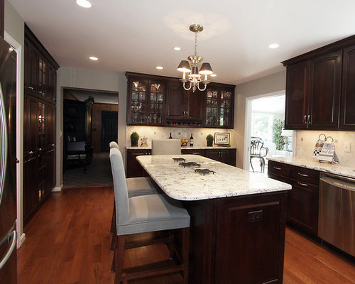 dark cabinets light granite - Dark Kitchen Cabinets With Light Granite