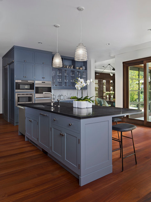 blue kitchen cabinets kitchen with blue cabinets design ideas amp remodel pictures 31632
