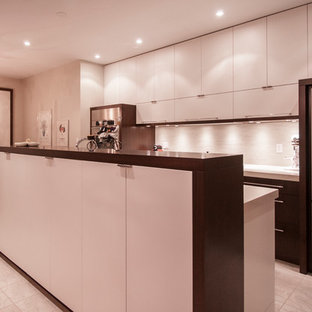 This is an example of a medium sized modern galley kitchen pantry in Toronto with a double-bowl sink, flat-panel cabinets, white cabinets, granite worktops, grey splashback, stainless steel appliances, ceramic flooring and an island.